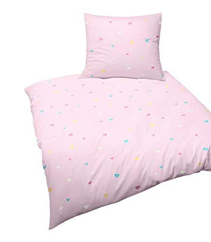 Bierbaum Biber Kinder Bettwäsche 2 TLG. 135x200cm Herzen Herzchen Pink Rosa Gelb