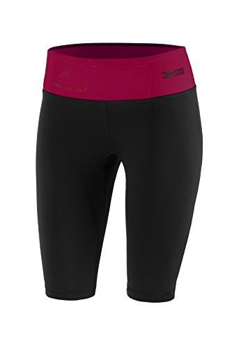 Fittech Performance Legging thermoactif pour femmes, Short moulant, Pantalon court pour fitness, yoga, sports d'extérieur, cyclisme, course à pied S Schwarz/Amarant