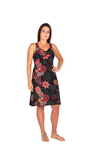 Heerlijk luchtige en vrouwelijke zomerjurk met een onweerstaanbare graphische bloemenprint en originele borduursels - 100% katoen - hippie chic
