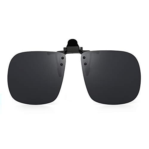JM Polarizadas Clip en Gafas de Sol Sin Marco Flip up Lente Estilo Cuadrado Para Receta Anteojos Gris