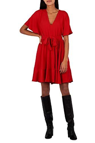 Twinset korte jurk van satijn met riem rode lava