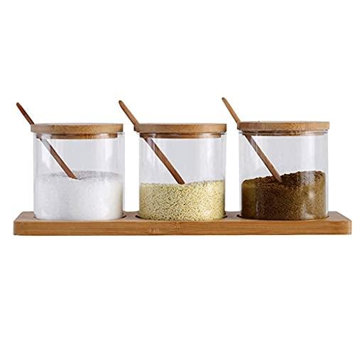 Bar Stools Suministros de Cocina Conjunto de Caja Conjunto de Caja de Vidrio y Acacia Madera Hecha a Mano, con Tapa de Cuchara y Base, condimento de Madera de contenedor