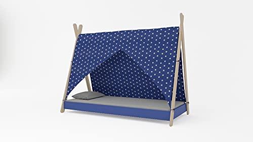 Meblex Cama tipo tipi para niños en madera natural, para niñas y niños, tamaño 160 x 80 cm, color azul y blanco estrellas