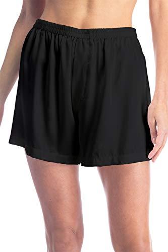 Fishers Finery Damen Boxershorts aus 100% Maulbeerseide, Nachtwäsche, Lounge-Shorts - Schwarz - Small