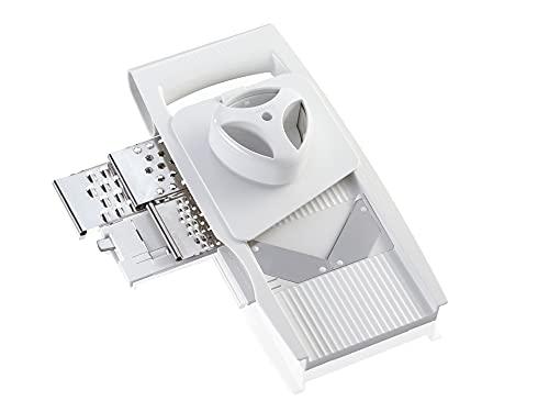 Leifheit Allzweckreibe 4+1 ComfortLine-Serie mit 5 Einsätzen für vielseitigen Gebrauch, Reibe mit verstellbarem Schneideinsatz, Gemüsehobel mit Restehalter, spülmaschinengeeignet, weiß