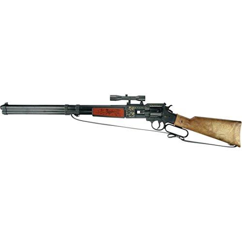 NET TOYS Fusil Utah 12 Coups 756 mm Noir-Marron Carabine Texas Arme Cowboy Arme à Chargement par la Culasse Fusil Jouet shérif