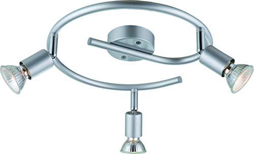 DM Leuchten Deckenlampe rund LED Lampe schwenkbar 3 flammig inkl. Leuchtmittel 3x 3 Watt, warmweiß, GU 10 Fassung, LED Deckenleuchte LED Strahler LED Spot, Matt-Nickel
