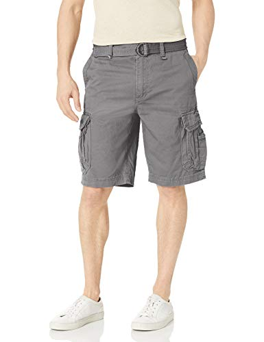 UNIONBAY Men's Survivor Belted Cargo Short-Reg and Big & Tall Sizes, Grey Goose, 48