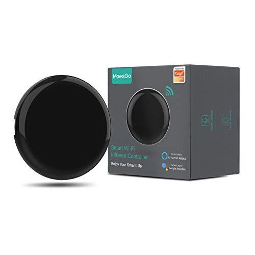 MoesGo Concentrador IR por Control Remoto con WiFi para controlar hogares Digitales con la Voz o Las apps Smart Life y Tuya, Compatible con Amazon Echo y Google Home