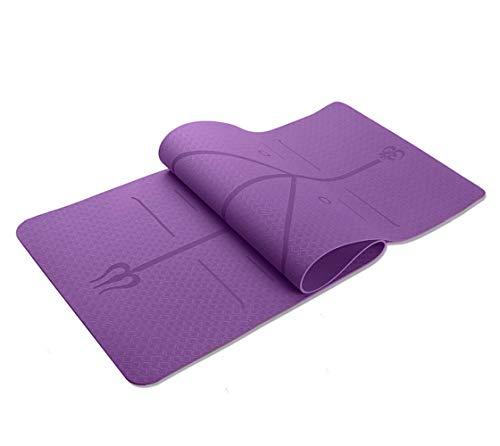Esterilla de yoga antideslizante, de alineación, TPE ecológica, antideslizante, con correa de transporte, esterilla de entrenamiento para yoga, pilates y gimnasia, 183 x 61 x 0,8 cm