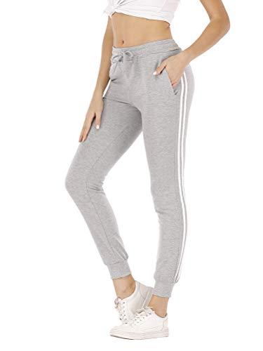 Mujer Pantalon Chandal Largos Pantalones de Deporte Yoga Fitness Jogger Pantalones de Punto de Rayas con Cintura elástica y Bolsillos Sport New