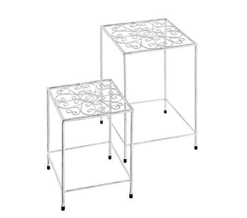 Ks Pflanztische 2er-Set Satztisch Pflanztisch Metall Blumentisch Außen und Ihnen