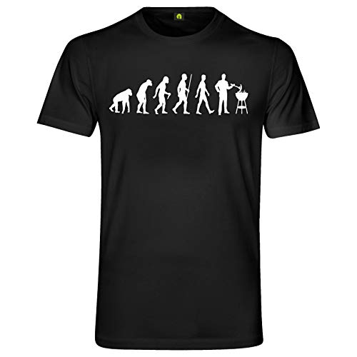 Evolution Grillen T-Shirt | Grill | Barbecue | Brutzler | Fleisch | Steak Schwarz M