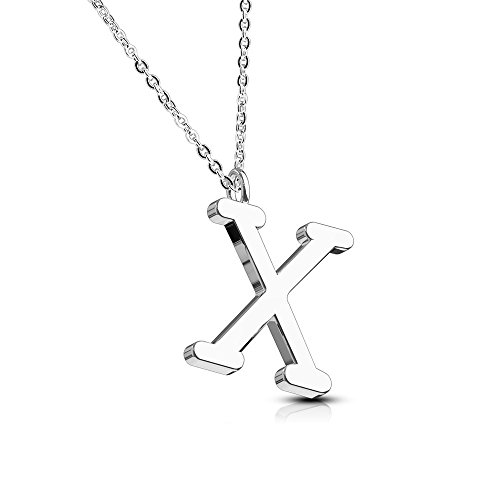 Bungsa® Buchstabe X Halskette Silber - Buchstaben-ANHÄNGER X Kette - Alphabet Kette für Frauen & Männer - aus Edelstahl - Schmuck für Jungen & Mädchen