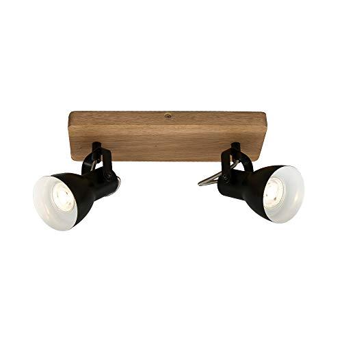 Briloner Leuchten luz, Foco Retro, lámpara de Techo Vintage, focos giratorios y orientables, 2X GU10, MAX. 35 vatios, Madera y Metal, 280x100x135 mm (LxAxA), Negro-blanco