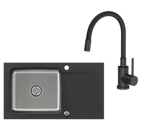 VBChome Lavandino con rubinetto, 78 x 44 cm, nero, in acciaio inox, lavello da cucina, sifone reversibile, superficie di scolo composito, lavello singolo moderno, flessibile
