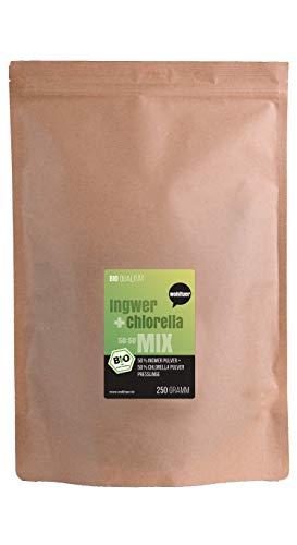 Weltuer Bio Ingwer + Chhlorella Mix Bio | Superfood Mixtabletten in rauwkostkwaliteit 250 g | Op reis of tijdens kuren
