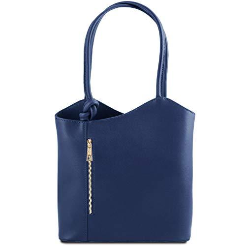 Tuscany Leather Patty Borsa donna convertibile a zaino in pelle Saffiano Blu scuro