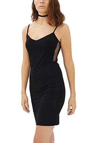 trueprodigy Casual Damen Marken Kleid einfarbig Basic Freizeitkleid Cool Stylisch sexy Kurzarm Slim Fit Shirt für Frauen Bedruckt, Farben:Schwarz, Größe:M