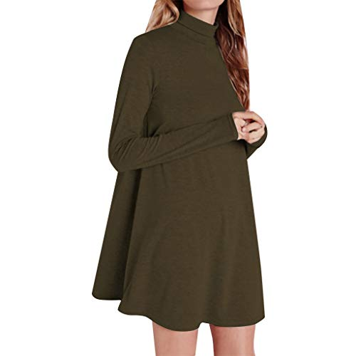 Damen Kleid Rollkragen Langarm Herbstkleid Longshirt Lässige Longpullover Pullikleid Minikleid Rollkragenpullover Bluse Winterhemd