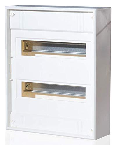Aufputz Kleinverteiler VISION, 1 bis 4-reihig wahlweise Steck- oder Schraubklemme Stahl- oder Kunststofftür (Schraubklemme Kunststofftür, 2-reihig 24+4 Module)