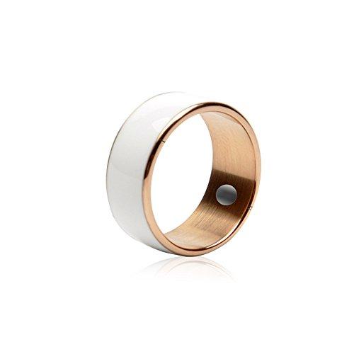 Nuevo anillo inteligente de tungsteno líquido con función NFC impermeable y a prueba de polvo, no necesita recargar (negro, blanco) (11, blanco)