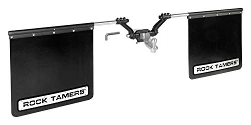 """Rock Tamers Mudflap System 3"""" Hub with Matte Black Stainless Steel Trim Plates, 3"""" Ball Mount (00112)"""