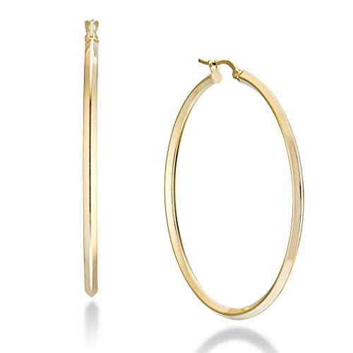 Miabella 18K Gold Over 925 Sterling Silver 2.5mm High Polished Knife Edge Hoop Earrings for Women Teen Girls 15mm, 20mm, 30mm, 40mm, 50mm Lightweight Earrings Made in Italy (50mm (2 Inch))