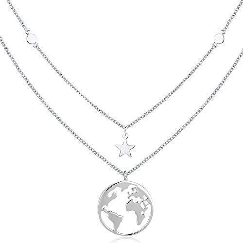 Silber Kette Damen mit Weltkarten Anhänger 925 Sterling Silber Doppelkette Halskette Schmuck für Frauen Madchen Kettenlänge 18 Zoll mit Geschenkbox (Weltkarten-1)