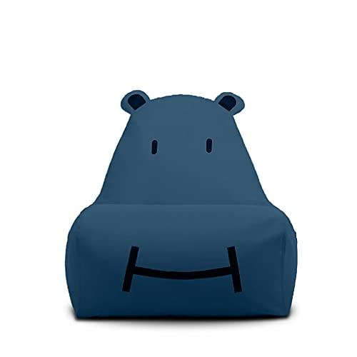Liu Yu·casa creativa Beanbag de Animales para niños, Silla de Almacenamiento de Animales de Peluche, Funda de Silla para niños, niñas y Adultos, Lona de algodón Premium, Ideas (Azul)