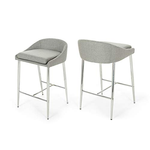 Christopher Knight Home Fanny Counter Stools, Modern, Upholstered, Chrome Iron Legs, Gray (Set of 2)