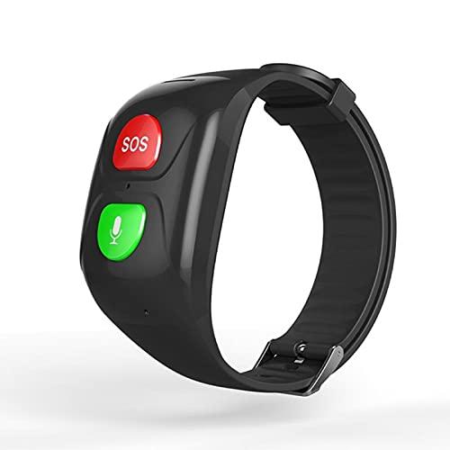 QKA Smart Watch, Pulsera Deportiva De Los Hombres 2G Monitor De Presión Arterial De Frecuencia Cardíaca para Los Ancianos, GPS Rastreador Anti-Perdido, Alarma De Aleder SOS,B
