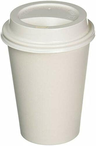 HoitoDeals 12oz Disposable White Paper Cups Glasses With Lid for Hot Drinks, Coffee, Hot Beverage Cups etc. (100Pcs)