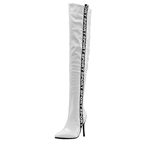 CularAcci Stiefel Damen Mode High Heel Over Knee Boots Party Lange Stiefel Pointed Toe Overknie Stiefel White Gr 37 Asian