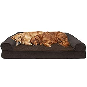 Furhaven Pet Dog Bed – Orthopedic Faux Fleece and Chenille Soft Woven Traditional Sofa-Style Living Room Couch Pet Bed with Removable Cover for Dogs and Cats, Coffee, Jumbo Plus