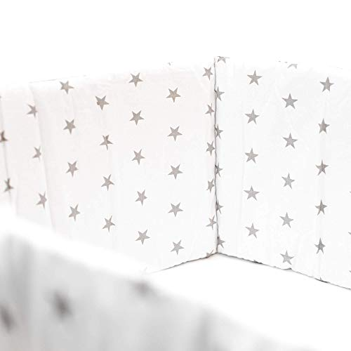 E4M® Tour de Lit Bebè - 3 Panneaux Latéraux en Coton Rembourré - Italian Brand, 210cm x 30cm - Hypoallergénique, Lavable, Respirant - Tissus Oeko-Tex 100 Cousus à la Main - 8 Attaches Cordon
