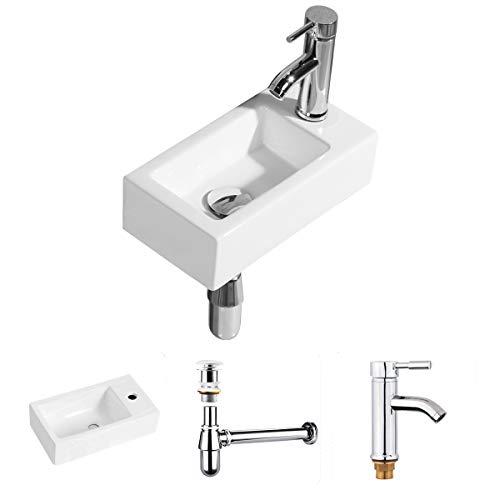 Handwaschbecken Klein, Gimify Mini Waschbecken zur Wandmontage aus Keramik Badezimmer (Set Rechte Hand)