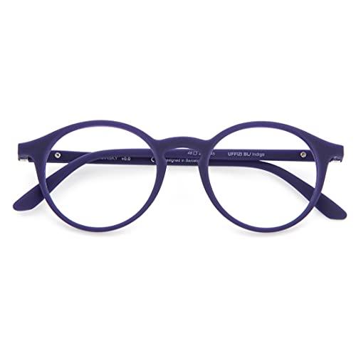 DIDINSKY Blaulichtfilter Brille für Damen und Herren. Blaufilter Brille mit stärke oder ohne sehstärke für Gaming oder Pc. Gummi-Touch-Tempel und Blendschutzgläser. Indigo +1.5 – UFFIZI