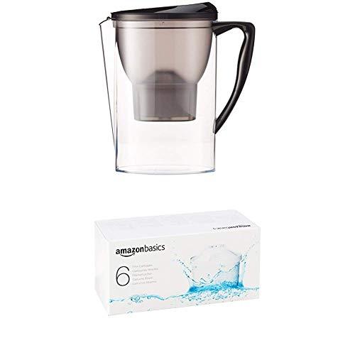 AmazonBasics Water Filter 2.3 litres (Negro) & Water Filter Cartridge (6 Unidades)