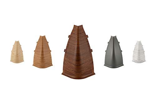 LEMAL Außenecken, PVC 70x50mm - Zubehör für Sockelleisten mit Kabelkanal - (0107 grau, 1 Stück) Vinylboden Wandabschlussleisten