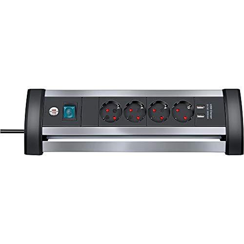 Brennenstuhl Alu-Office-Line regleta enchufes con USB y 4 tomas corriente para mesa (cable de 1.8 m, carga USB, interruptor iluminado, hecho en Alemania), plateado/negro