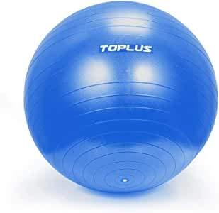 Toplus - Pelota de fitness, pelota de estabilidad antiestallidos y extra gruesa con bomba rápida de gimnasia para fitness, yoga y pilates, turquesa, 65cm