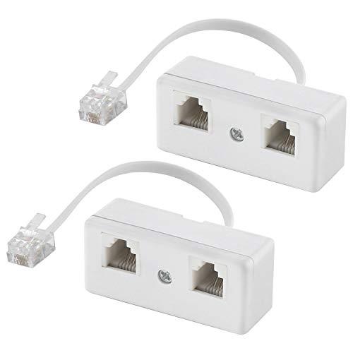 Divisores de teléfono de dos vías, cable RJ11 6P4C adaptador de pared y separador, macho a 2 hembra convertidor para línea fija (blanco, 2 unidades)