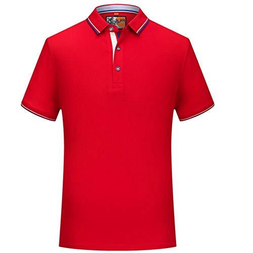Polo de Golf pour Homme, T-Shirt en Coton à Manches Courtes, Haut de Tennis décontracté-Rouge_WS