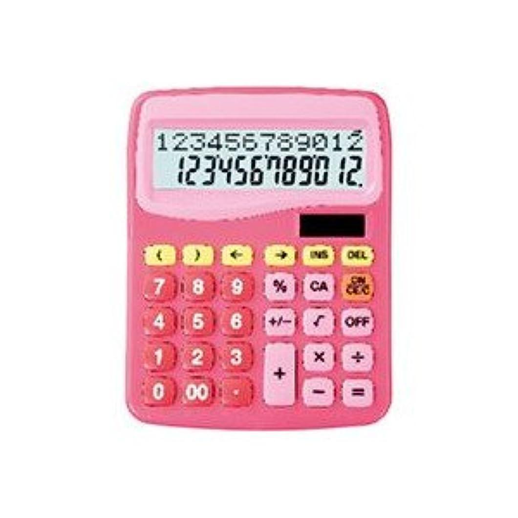 経済お誕生日迫害スクール電卓計算式表示電卓12桁ピンク