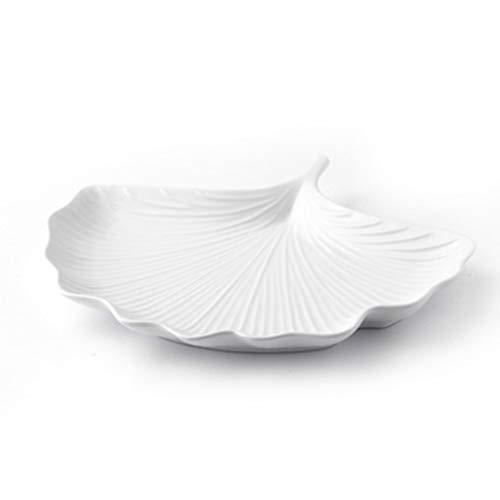 ZHENYANG Placa, Placa de refrigerio Personalizada Ginkgo Biloba Forma Placa de cerámica 2.6x26.3x21cm (Color : White)