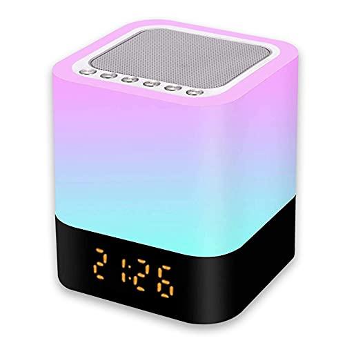 Luz Nocturna Altavoz Bluetooth, Gingbiss Lámpara Táctil Que Cambia de Color, Luz de Noche RGB Regulable, Reloj Despertador Digital, Regalos Comunion para Niños Adolescentes