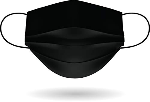 Mascherina per Viso con elastici, lavabile e sterilizzabile, Unisex, Made in Italy (FULL BLACK)