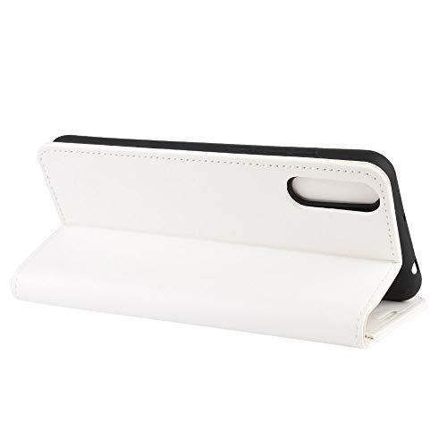DAMAIJIA für Wiko View4 Lite Hüllen Klapphülle PU Leder Silikon Wallet Schutzhülle Schutz Mobiltelefon Flip Back Cover für Wiko View 4 Lite Tasche Handy Zubehör (White)
