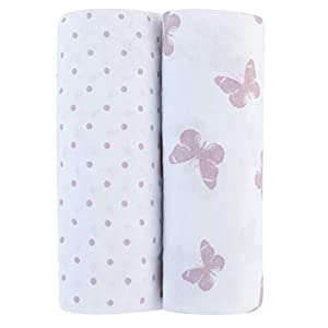 Adrienne Vittadini Bambini Jersey Cotton Pack N Play Sheets 2 Pack Lavendar Butterfly & Dots, Lavender (AVB-0015)